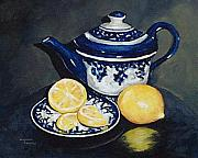 Teapot Paintings - Tea with Lemons  by Torrie Smiley