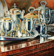 Champagne Painting Prints - Tea With Marguerite Print by Carolyn Coffey Wallace