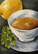 Lemon Paintings - Tea with Mint and Lemon by Torrie Smiley