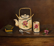 Silver Tea Pot Paintings - Tea With Mom and Grandma by Gina Cordova