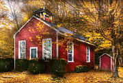 Red School House Metal Prints - Teacher - School Days Metal Print by Mike Savad