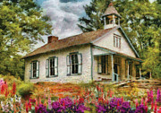 One Room School Framed Prints - Teacher - The School House Framed Print by Mike Savad