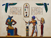 Hieroglyphics Paintings - Teaching an Old God New Tricks by Richard Deurer