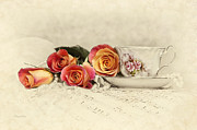 Cup Of Tea Photos - Teacup and Roses by Cheryl Davis