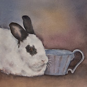 Nursery Room Art Prints Paintings - Teacup Bunny by Teresa Silvestri