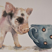 Nursery Room Art Prints Paintings - Teacup Pig by Teresa Silvestri