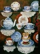 Doilies Framed Prints - Teacups on shelves Framed Print by Carol VonBurnum