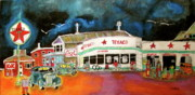 Kik Cola Paintings - Teague Texaco 1940 by Michael Litvack