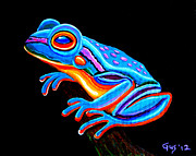 Save Painting Framed Prints - Teal Frog Framed Print by Nick Gustafson