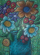 Oil Pastel Pastels - Teal Pot by Karla Gerard