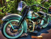 Antique Harley Davidson Framed Prints - Teal Ride Framed Print by Joetta West