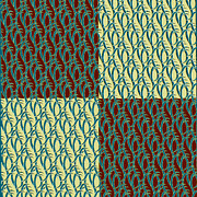 Vines Posters - Teal Vines Poster by Bonnie Bruno