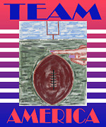 Sports Art Mixed Media Prints - Team America Print by Patrick J Murphy