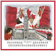 Hockey Mixed Media - Team Canada 40th Anniversary 17.5x20.5 by Daniel Parry
