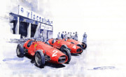 Watercolour Prints - Team Ferrari 500 F2 1953 German GP Print by Yuriy  Shevchuk