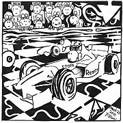 Race Drawings Originals - Team Of Monkeys Go Kart Race by Yonatan Frimer Maze Artist