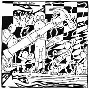 Yonatan Drawings - Team Of Monkeys Maze Cartoon - Hammering Nail by Yonatan Frimer Maze Artist