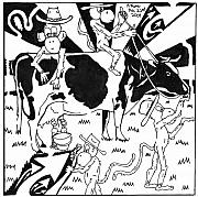 Yonatan Drawings - Team Of Monkeys Maze Cartoon - Milking a Holstein Cow by Yonatan Frimer Maze Artist