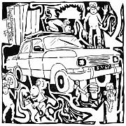 Team Mixed Media - Team Of Monkeys Maze Comic Changing Tire by Yonatan Frimer Maze Artist