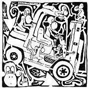 Team Mixed Media - Team Of Monkeys Maze Comic Driving a Fork Lift by Yonatan Frimer Maze Artist
