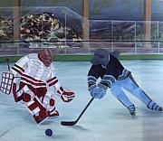 Sports Art Paintings - Team Plane Vs Team Dolphins by Yack Hockey Art