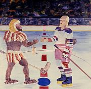 Sports Art Paintings - Team Plane Vs Team Neandertals by Yack Hockey Art
