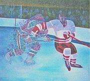 Hockey Painting Metal Prints - Team Plane Vs Team Particals Metal Print by Yack Hockey Art