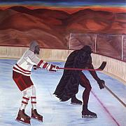 Hockey Painting Metal Prints - Team Plane Vs  Team Scorpions Metal Print by Yack Hockey Art