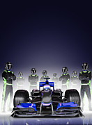 Efficiency Posters - Team With Formula One Car And Driver Poster by Jon Feingersh