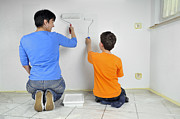 Diy Photos - Teamwork - Mother and child painting wall by Matthias Hauser