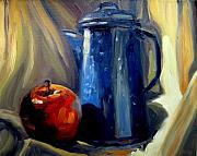 Teapot Paintings - Teapot And Apple by Brian Simons