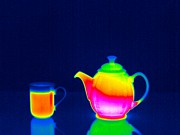 Coffee Mug Prints - Teapot And Hot Drink, Thermogram Print by Tony Mcconnell