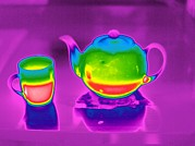 Cup Of Tea Photos - Teapot And Mug, Thermogram by Tony Mcconnell