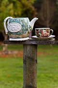Humor Prints - Teapot and tea cup on old post Print by Garry Gay