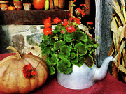 Pumpkins Posters - Teapot Filled With Geraniums Poster by Susan Savad