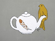 Brunch Paintings - Teapot Perch by Melanie Daily