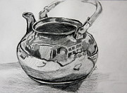 Teapot Drawings - Teapot Reflections by Jan Bennicoff