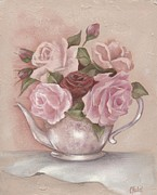 Teapot Paintings - Teapot Roses by Chris Hobel