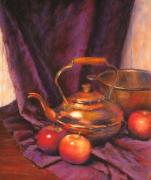 Cloth Pastels Posters - Teapot with Apples Poster by Barbara Jaenicke