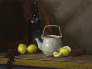 Drapery Framed Prints - Teapot with Lemons and Grapes Framed Print by Walter Mosley