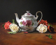 Teapot Paintings - Teapot with Roses by Jill Brabant