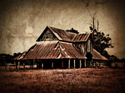 Teaselville Texas Barns Print by Julie Hamilton
