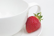 Red And Tea Prints - Teatime Strawberry Print by Ann Garrett