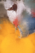 Pigment Posters - Technician Pouring A Bucket Of Yellow Powder Poster by Geoff Tompkinson