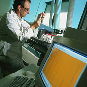Mass Photo Posters - Technician Prepares Samples For Mass Spectrometer Poster by Tek Image