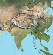 Merging Photos - Tectonic Map Of Asia by Gary Hincks