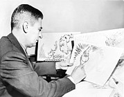Cartoonist Photo Posters - Ted Geisel Dr. Seuss 1904-1991 At Work Poster by Everett