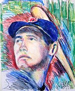 League Drawings Framed Prints - Ted Williams Boston Redsox  Framed Print by Jon Baldwin  Art