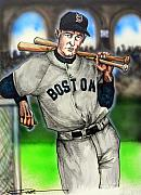 Boston Red Sox Drawings Framed Prints - Ted Williams Framed Print by Dave Olsen