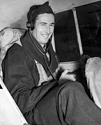 Baseball Player Posters - Ted Williams In Navys Flight Training Poster by Everett